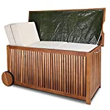 Deuba Auflagenbox | Akazien Hartholz | Innenplane Griff Räder 117cm | Holztruhe Kissenbox Truhe Gartenbox Gartentruhe