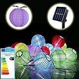 Bunte Solar Lichterkette | EEK: A++ | Lampion Gartenbeleuchtung Solarlampen