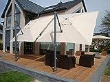 Ampelschirm + Plattenständer Mit Fußpedal + Schutzhülle Modell: Stabielo - Monte Carlo - Zangenberg - 350 Cm X 250 Cm Ø - Farbe - Beige Oder Taupe