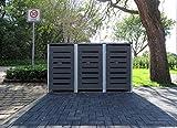 3 Mülltonnenboxen Modell No.6 Anthrazitgrau für 240 Liter Mülltonnen / witterungsbeständig durch Pulverbeschichtung / mit Klappdeckel und Fronttür