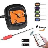 Anbber Grillthermometer Blueooth mit 6 Fühlern, Funk Fleischthermometer Digital Wireless BBQ Thermometer für Küche Grill Essen Steak