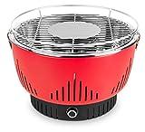 MEDION MD 17700 Holzkohlegrill mit Aktivbelüftung, kaum Rauchentwicklung, Schnellstart, kompaktes Design, schwarz (rot)