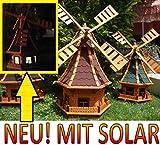 XL,windmühle,windmühlen garten, imprägniert + kugelgelagert 1 m groß rot dunkelrot edelrot weinrot, mit SOLARBELEUCHTUNG