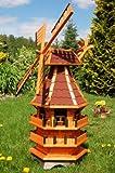 Deko-Shop-Hannusch Windmühle 3 stöckig kugelgelagert 1,40 m Bitum rot mit Beleuchtung Solar, Solarbeleuchtung, mit extra Windrad hinten am Kopf, imprägniert, Kugellager einstellbar