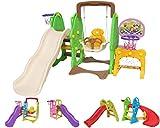 Clarmaro 'Kids Adventure 3in1' Kinder Spielplatz Rutsche mit 140 cm Wellenrutsche, Schaukel und Basketballkorb, Indoor/Outdoor Garten Rutschbahn, Spielturm und Rutsche mit Breiten Stufen Standbeinen