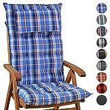 Homeoutfit24 Sun Garden Gartenstuhl-Auflage (120 x 50 x 9 cm) Sylt, Hochlehner Auflage mit abnehmbarem Kopfpolster in Blau/Weiß 1-Stück
