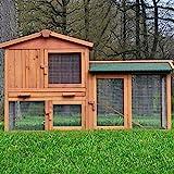ZooPrimus Kleintier-Stall Nr 01 Kaninchen-Käfig 'HASENVILLA' Meerschweinchen-Haus für Außenbereich (Breite 145cm, Tiefe 53cm, Höhe 86cm, geeignet für Kleintiere: Hasen, Kaninchen, Meerschweinchen usw.)