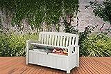 Koll Living Gartenbank/Aufbewahrungsbox/Auflagenbox Farbe Weiß - 227 Liter - Deckel belastbar bis 272 KG - Belüfteter Innenraum - kein übler Geruch oder Schimmel - Modell 2020