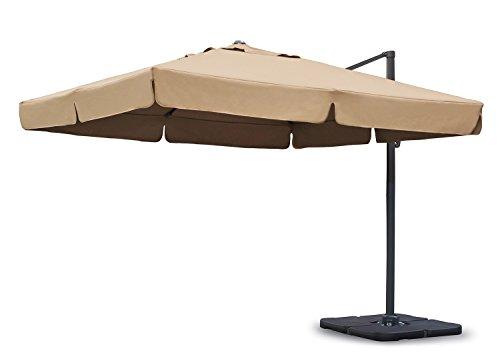 Sekey Sonnenschirm 300 x 300 cm Aluminium-Sonnenschirm Marktschirm Gartenschirm Terrassenschirm Ampelschirm Kurbelschirm Beige/Taupe Quadratisch Sonnenschutz UV50+ 23kg