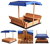 Home Deluxe - Sandkasten Buddelkiste - Mit verstellbarem Dach und Bodenplane - Mae: 130 x 120 x 120 cm - inkl. komplettem Montagematerial