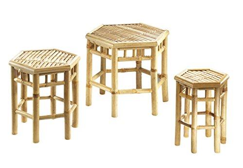 2. Kobolo Blumenhocker 6-eckig aus Bambus im 3er-Set