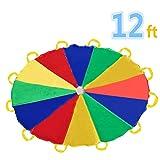 Sonyabecca 3,5m Schwungtuch fr Kinder und Familie - Bunt Fallschirm Parachutes Spielzeug (6-12 Kinder)