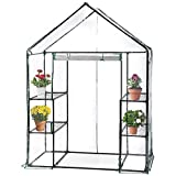 WZTO 4 Etagen Gewächshaus, Pflanzenhaus foliengewächshaus transparent Treibhausin mit PVC-Plane für Zimmerpflanzen, Kraut, Blume 56 * 73 * 76 in