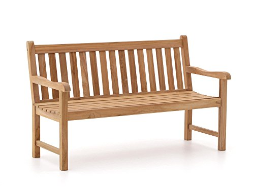 Sunyard Stabile Wales Gartenbank 2 Sitzer   Teakholz Gartenbank 120 cm   Aus unbehandeltem massivem Teakholz, Sitzbank für Garten oder Balkon   Wetterfest, pflegeleicht und klassisches Aussehen