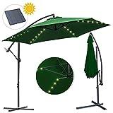 wolketon Alu Ampelschirm 300cm mit Solar LED Warmwei Beleuchtung UV-Schutz 30+ Wasserabweisende Bespannung - Sonnenschirm Schirm Gartenschirm Marktschirm Kurbelschirm