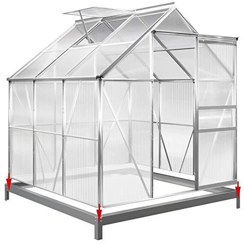 Deuba Aluminium Gewächshaus   5,85m³ mit Fundament   190x195cm   Treibhaus Gartenhaus Frühbeet Pflanzenhaus Aufzucht