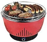 MEDION MD 17700 Holzkohlegrill mit Aktivbelftung, kaum Rauchentwicklung, Schnellstart, kompaktes Design, schwarz (rot)