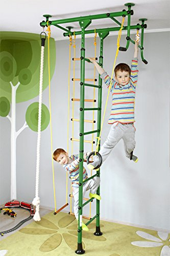 NiroSport FitTop M1 Indoor Klettergerüst für Kinder Sprossenwand für Kinderzimmer Turnwand Kletterwand, TÜV geprüft, kinderleichte Montage, max. Belastung bis ca. 130 kg (Grün)