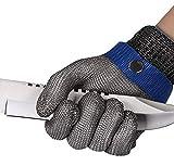 ThreeH Arbeitshandschuhe Schnittfester Edelstahl 316L Drahthandschuhe Schutzstufe 5 Schutz für die Küche Metzger arbeiten GL09 S(Ein Handschuh)