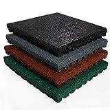 etm Fallschutzmatte für Außenbereich | Unterseite mit Drainage | Größe 50x50 cm | TÜV geprüft | Fallschutz mit Stärke 25 mm | Grau (25 mm mm)