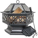 PRISP Feuerschale für den Außenbereich, sechseckiger Feuerkorb für Garten oder Terrasse, Feuerstelle mit Funkenschutz, Schürhaken und Schutzabdeckung, Schwarz und Bronze, 61 cm L x 65 cm H