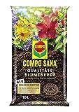 Compo SANA Qualitäts-Blumenerde mit 12 Wochen Dünger für alle Zimmer-, Balkon- und Gartenpflanzen, Kultursubstrat, 10 Liter, Braun