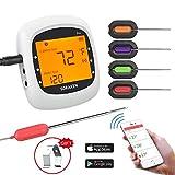 Soulcker Grillthermometer Bluetooth, Digital Wireless BBQ Thermometer Grill mit 4 Sonden, Funk Thermometer Bratenthermometer Fleischthermometer Set fr Kche, Smoker, Steak, Untersttzt IOS, Android