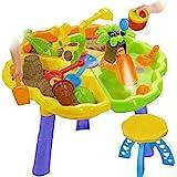 Dominiti Sandkastentisch mit Zubehör + 2 Hocker - Für Innen, Spieltisch für das Kinderzimmer