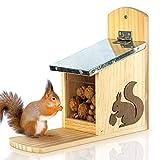 Skojig Eichhörnchen Futterhaus - fertig montiert aus Kiefernholz & 100% wetterfest   Futterstation zum Eichhörnchen füttern, Eichhörnchenfutterhaus, Futterstelle, Futterhäuschen