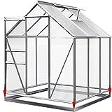 Deuba Aluminium Gewächshaus | 5,85m³ mit Fundament | 190x195cm | Treibhaus Gartenhaus Frühbeet Pflanzenhaus Aufzucht