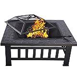 HENGMEI 81x81x45cm Multifunktional Feuerschale Feuerstelle Fire Pit Grillstelle Feuerkorb mit Grillrost Funkenschutz für BBQ, Heizung,Garten (Modell A, 81cm)