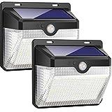 Solarleuchte für Außen,【270° Superhelle-2 Stück】iPosible 60 LED Solarlampen mit Bewegungsmelder Wasserdichte 2000mAh Solar Beleuchtung LED Solar Wandleuchte mit 3 Modi Solarlicht für Garten,Patio