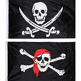 Hestya 2 Stück Jolly Roger Piraten Flagge Schädel Flagge für Piraten Party, Geburtstagsgeschenk, Piraten Tag, Halloween Dekoration,, 3 x 5 Fuß