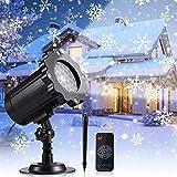 LED Projektor Weihnachten Schneeflocke ProjektorLicht für Innen und Außen LED Projektionslampe Schneefall Effektlicht mit Drahtloser Fernbedienung und Timing Funktion IP65 Wasserdicht