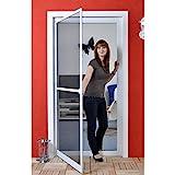 Premium Slim PLUS Fliegengitter für Tür als Alubausatz mit Fiberglasgewebe - Profi Insektenschutz - 120 cm x 240 cm weiß