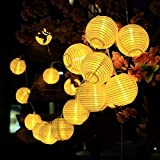 GDEALER Solar Outdoor Lichterkette 6 Meter 30 LEDs Lampions Laterne Solarbetrieben Lichterkette Wasserfest Weihnachten Dekoration für Garten, Terrasse, Hof, Haus, Weihnachtsbaum, Feiern - Warmweiß