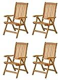 4x Premium Hochlehner 'Pisa' aus Teak-Holz ✓ Edler Gartensessel für Wintergarten ✓ Wetterfester Garten-Stuhl & Klapp-Sessel, Terrassen-Möbel ✓ Praktischer Klappstuhl + verstellbare Rückenlehne