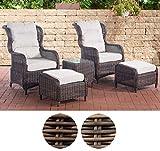 CLP Polyrattan Sitzgruppe Treviso V2 inkl. Polsterauflagen l Garten-Set: Zwei Sesseln, Zwei Hockern und EIN Beistelltisch Braun Meliert