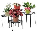 Blumenstnder 4-in-1 Set, Blumenhocker aus Metall, dekorativ fr Garten/Terrasse (Schwarz)
