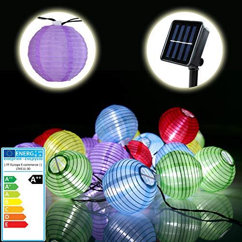 Bunte Solar Lichterkette - EEK: A++ - Lampion Gartenbeleuchtung Solarlampen