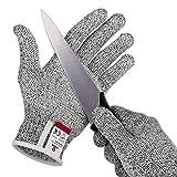 NoCry schnittsichere Handschuhe mit Griffnoppen – Leistungsfähiger Level 5 Schutz, lebensmittelecht. Größe: M, 1 Paar
